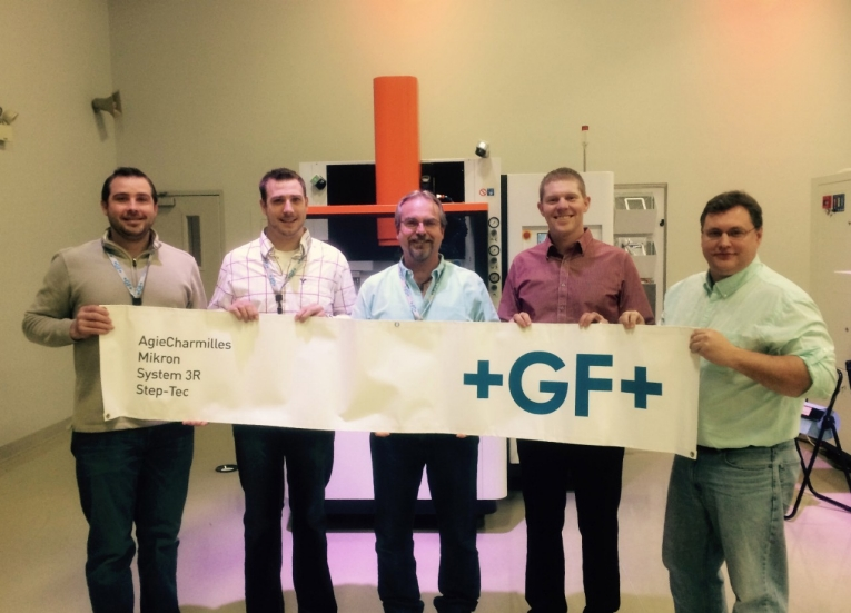 Knox Machinery has been named GF Machining Solutions' distributor for Southern Ohio and Kentucky. The Knox team, from left to right, includes Jerry Gehret, Adam Gehret, Greg Knox and Wes Moore. Standing to the far right is Eric Ostini, product manager at GF Machining Solutions.